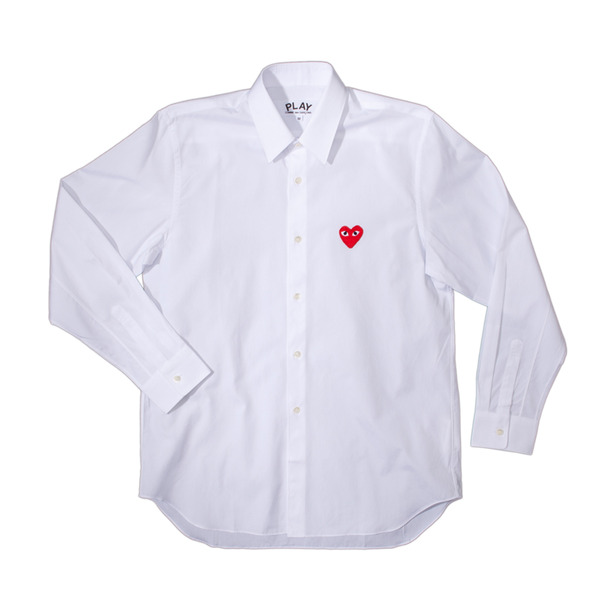 CdG Play Red Emblem Button Down Shirt