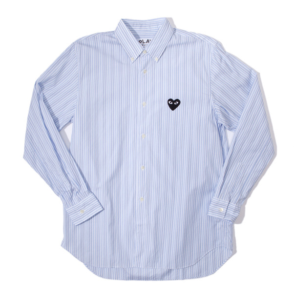 CdG Play Striped Heart Emblem Button Down Shirt-6