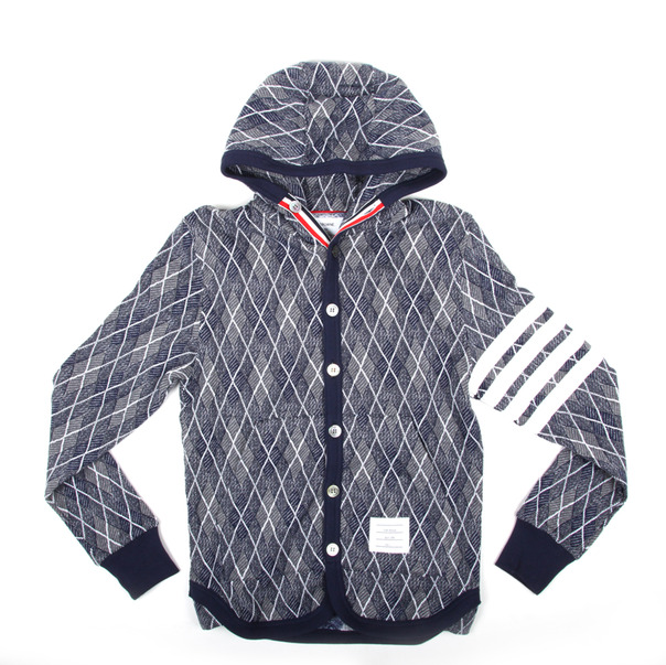 Thom Browne Argyle Hooded Cardigan 2