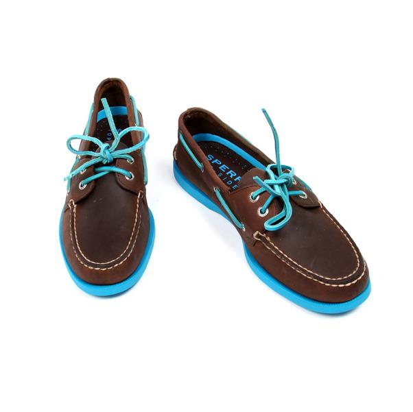 Sperry  2 Eye Boat Shoe Dk Brwn x Neon Blue-5