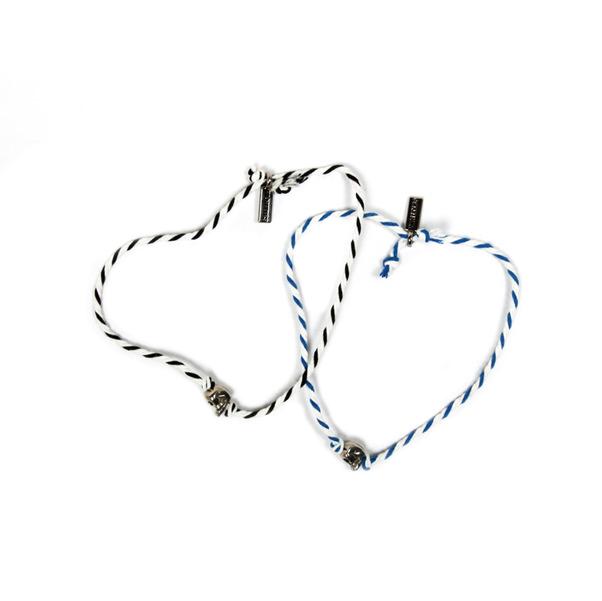 Vanities Bi Color Skull Rope Bracelet-3
