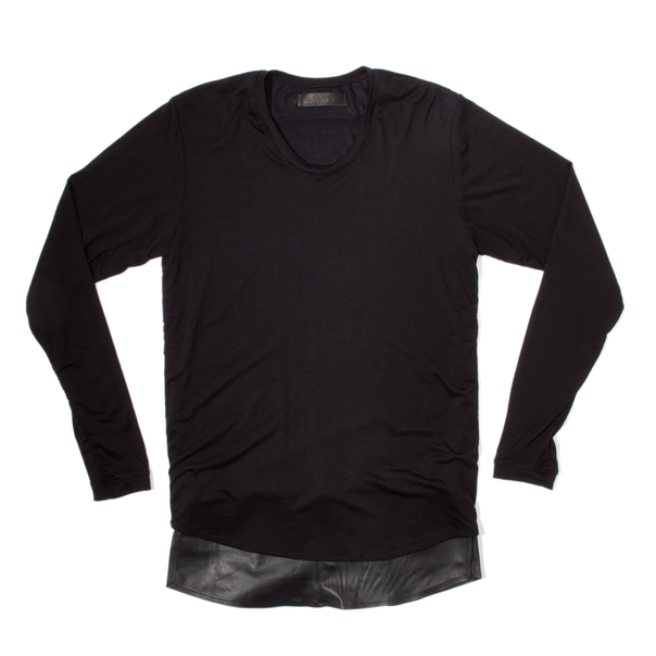 En Noir Black Leather Underlay Long Sleeve Shirt