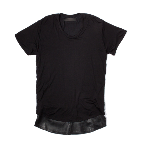 En Noir Black Leather Underlay T-Shirt