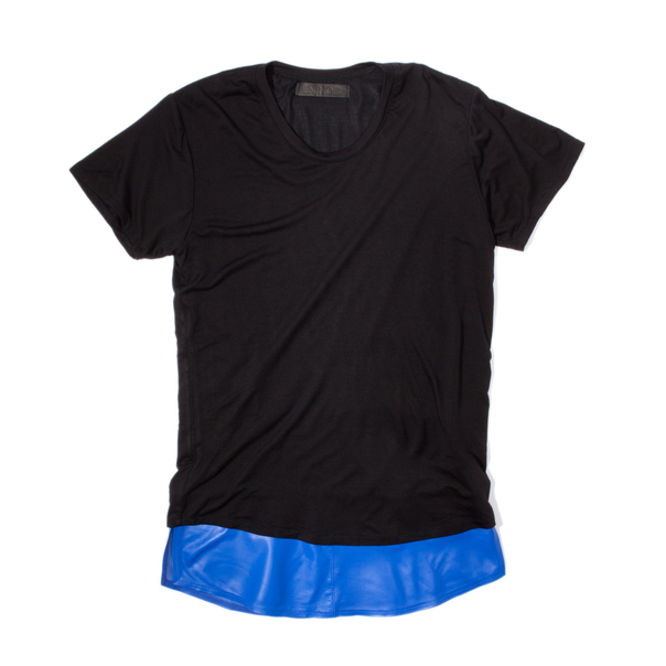 En Noir Blue Leather Underlay T-Shirt