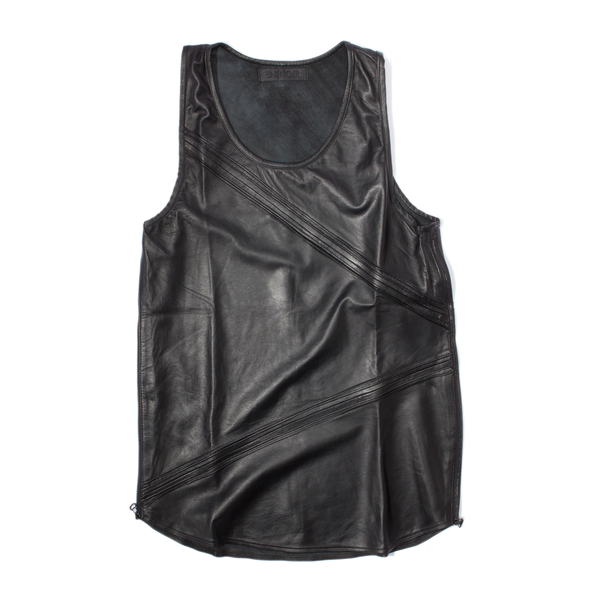 En Noir Pintuck Leather Tank Top