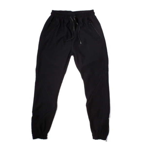 En Noir Quilted Jacquard Cotton Sweatpants