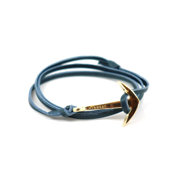 Miansai Gold Leather Anchor Bracelet-8
