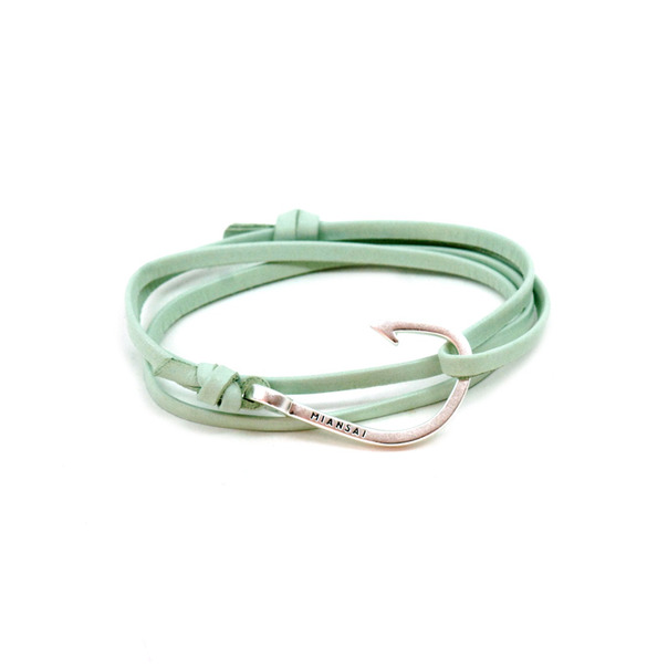 Miansai Silver Tone Hook Leather Bracelet-5