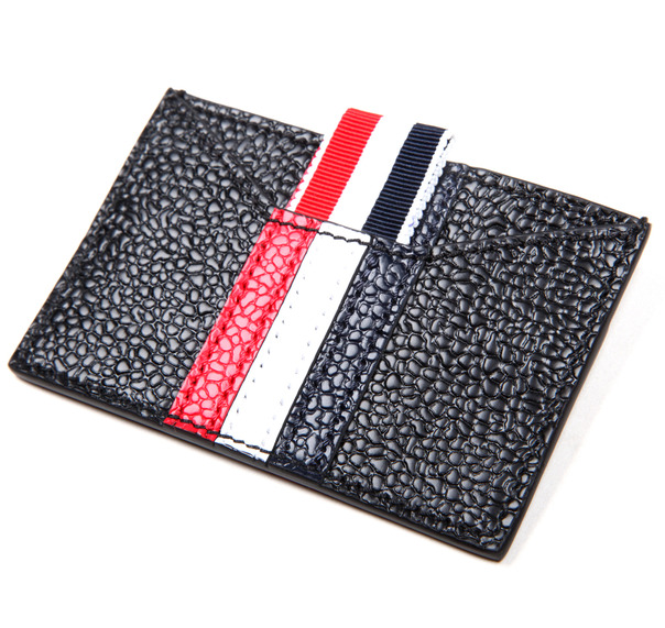 Thom Browne - card case black rwb stripe lll