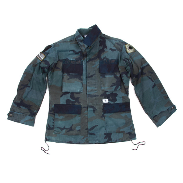 U.S. Alteration Overdye Woodland Camo Jacket Indigo flap
